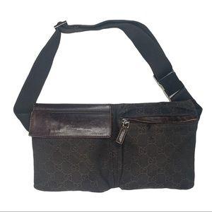 Gucci Brown Canvas Fanny Pack Belt Bag Waist Bag